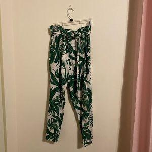Leaf print paper bag pants with tie waist
